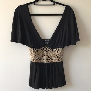 Victoria's Secret Black, tan deep v crocheted top